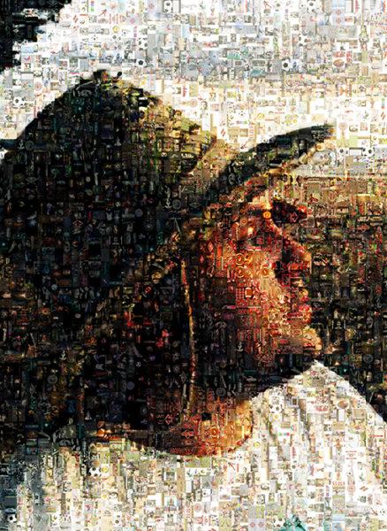 Портрет фотомозаика В шляпе