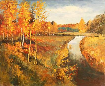 Печать репродукций на холсте - Золотая осень Левитан - skazkavrame.ru