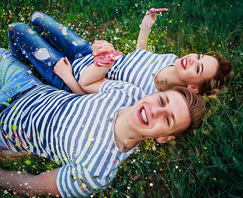 """Портрет по фото пара на траве в стиле """"Дрим Арт"""" - skazkavrame.ru"""