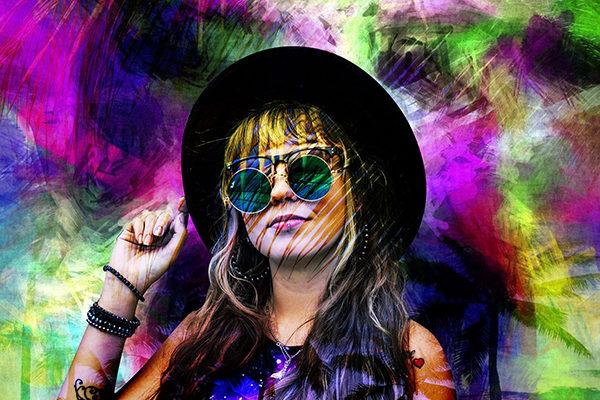 Портрет девушки с эффектом наложения яркого фона и пальм - skazkavrame.ru