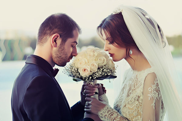 Портрет со свадьбы в стиле Масляная живопись по фото
