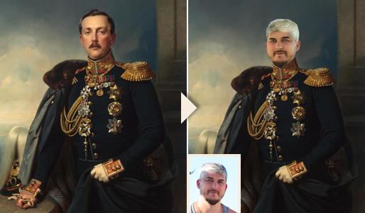 Художественный дизайн-портрет в образе генерал - печать на холсте - skazkavrame