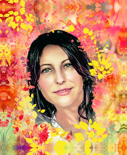 Печать фото - женщина и осень в художественном стиле - пример 3