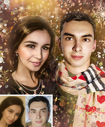 Портрет по фото новогодний в стиле Дрим арт - skazkavrame.ru