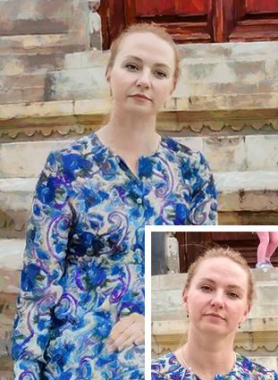 Портрет по фото на холсте девушки на ступенях в стиле Масляная живопись - skazkavrame.ru