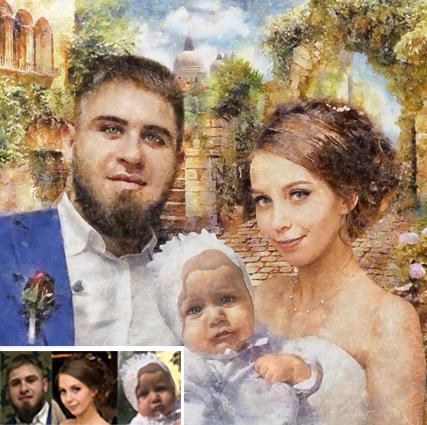 Портрет по фото на холсте на семейный - skazkavrame.ru